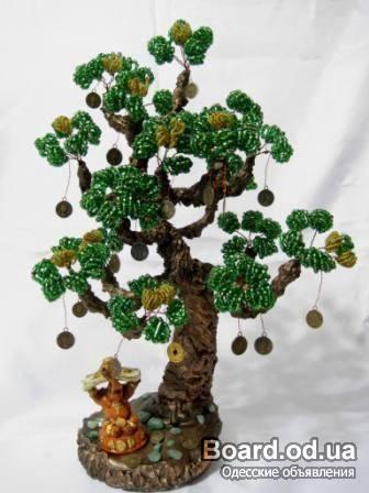 Дерево ручной работы из бисера и камней (оникс).  Денежное дерево является символом процветания и богатства...