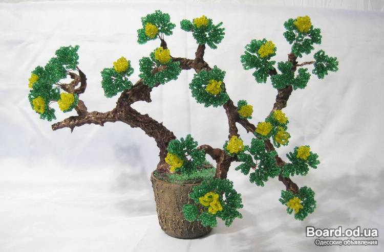 Необычное бисероплетение деревьев и цветов, а так... мастер классы, схемы плетения, цветы и деревья из бисера.