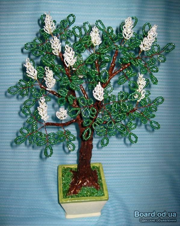 """Дерево из бисера  """"Каштаны """" Высота около 60см - 265грн Цветение каштанов - это аналог японского цветения сакуры."""