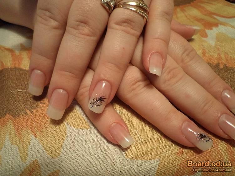 Наращивание ногтей акрилом на типсах