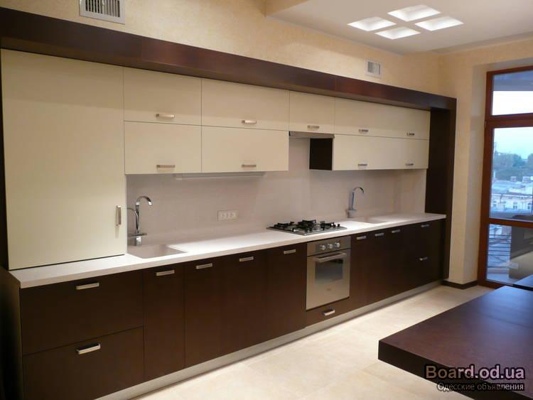 Дизайн кухни кофейного цвета 17